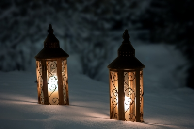 lanterns in snow
