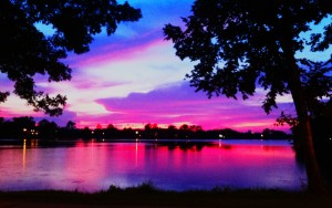 sunset over lsu lakes